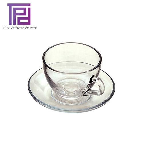 فنجان و نعلبکی مرجان محصول شیشه و بلور کاوه | بازرگانی درستکار فروشنده انواع بلور ایرانی